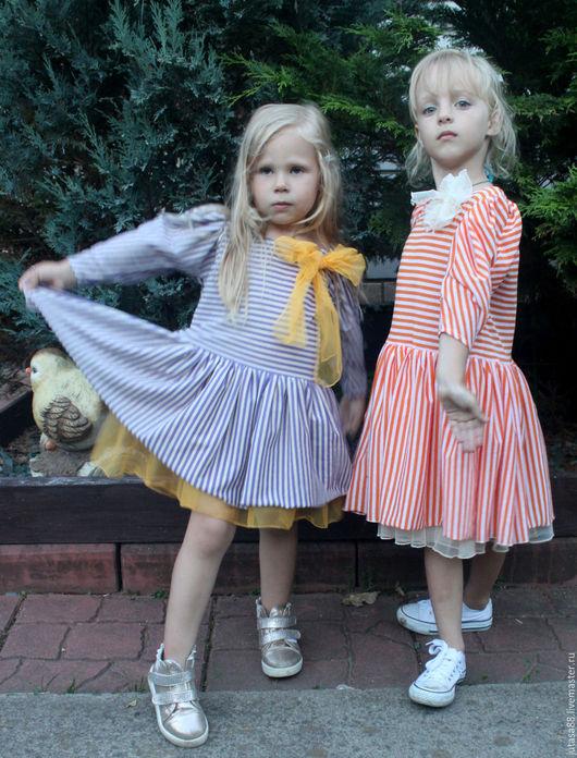 """Одежда для девочек, ручной работы. Ярмарка Мастеров - ручная работа. Купить Платье """"Алиса"""" в оранжевую полоску. Handmade. Оранжевый"""