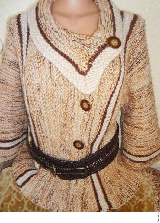 Кофты и свитера ручной работы. Ярмарка Мастеров - ручная работа. Купить Кардиган осенний. Handmade. Бежевый, вязаный кардиган, теплый