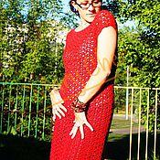 Одежда ручной работы. Ярмарка Мастеров - ручная работа Платье красное ажурное вязаное крючком. Handmade.