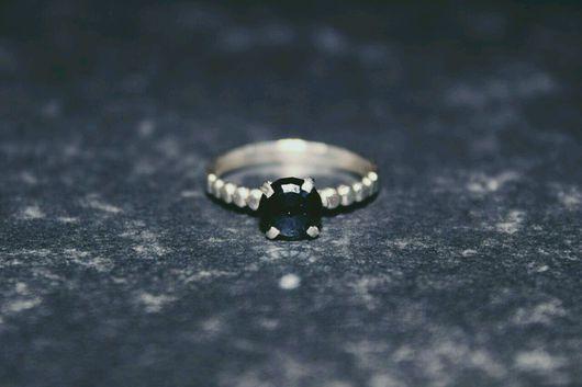Кольца ручной работы. Ярмарка Мастеров - ручная работа. Купить Кольцо с черным фианитом. Handmade. Серебряный, кольцо, черный камень