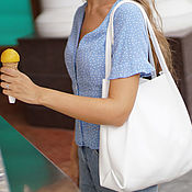 Сумки и аксессуары handmade. Livemaster - original item White tote shopper Pack Bag hot sale Bag leather. Handmade.
