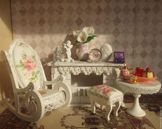 """Кукольный дом ручной работы. Ярмарка Мастеров - ручная работа. Купить """" Милый уголок с камином """" Масштаб 1:12 (для кукол до 17 см. Handmade."""