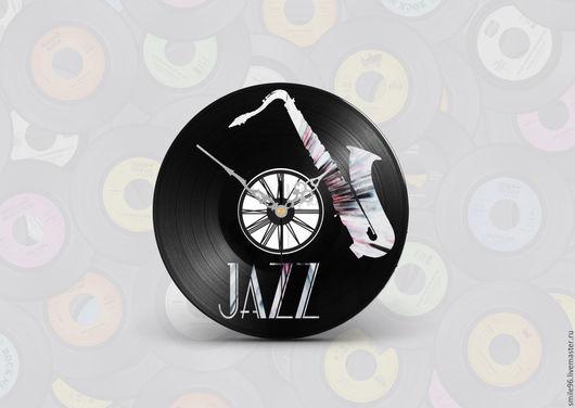 """Часы для дома ручной работы. Ярмарка Мастеров - ручная работа. Купить Часы из виниловой пластинки """"Jazz"""". Handmade. Jazz, комбинированный"""