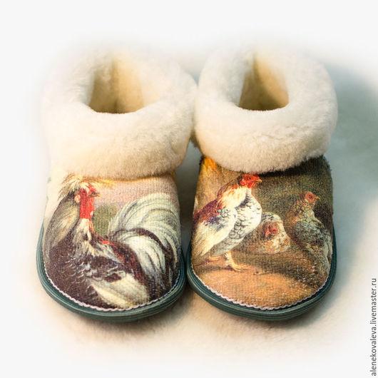 Обувь ручной работы. Ярмарка Мастеров - ручная работа. Купить Чуни «Новый год петуха 2017». Handmade. Зимний подарок