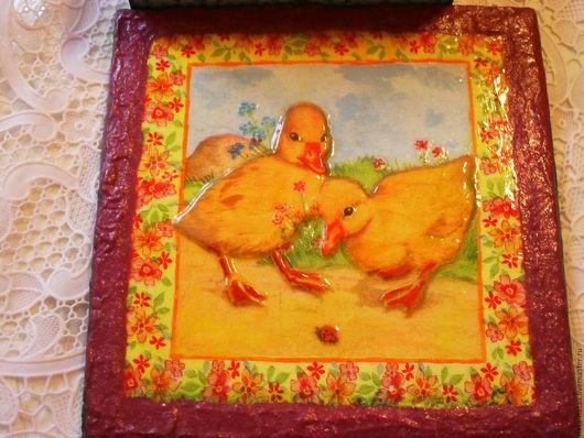 Детская ручной работы. Ярмарка Мастеров - ручная работа. Купить картина_панно для детской  Утятки на полянке. Handmade. Комбинированный, картина в подарок