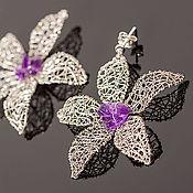 """Украшения ручной работы. Ярмарка Мастеров - ручная работа Серьги """"Silver petals"""". Handmade."""