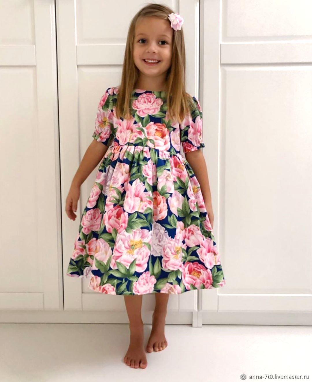 """Платье """"Розовые пионы"""", короткий рукав, Платье, Самара,  Фото №1"""