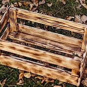 Ящики ручной работы. Ярмарка Мастеров - ручная работа Деревянный ящик с обжигом 50х30х19,5. Handmade.