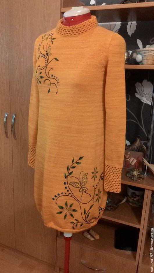 """Платья ручной работы. Ярмарка Мастеров - ручная работа. Купить Платье """"Осенние грезы"""". Handmade. Оранжевый, вязаное платье"""