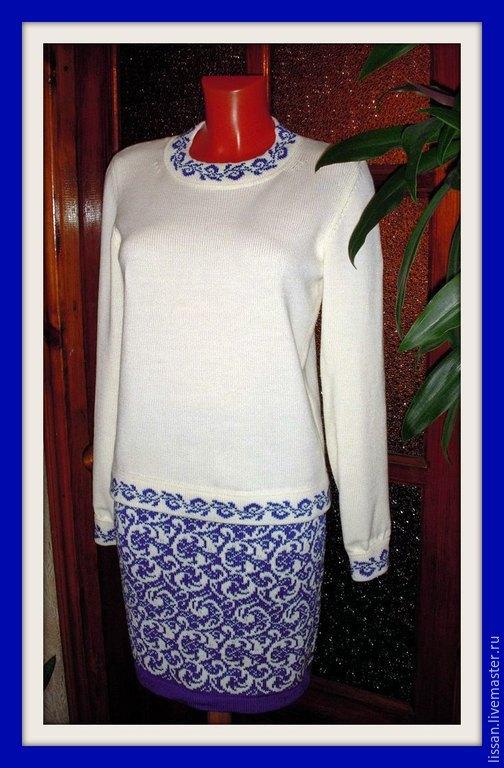 """Костюмы ручной работы. Ярмарка Мастеров - ручная работа. Купить Джемпер и юбка """"Узоры на стекле"""". Handmade. Белый, синий, джемпер"""