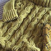 Одежда handmade. Livemaster - original item Sweater with braids and a wide collar oversized mustard color. Handmade.