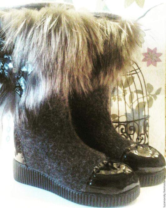 """Обувь ручной работы. Ярмарка Мастеров - ручная работа. Купить Валенки """" Лотос"""". Handmade. Темно-серый, валенки на подошве"""