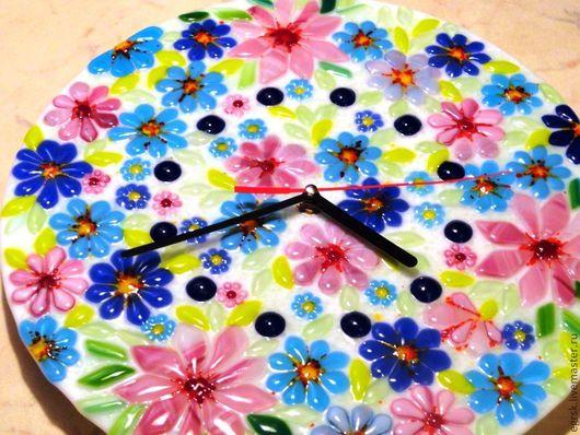 """Часы для дома ручной работы. Ярмарка Мастеров - ручная работа. Купить Часы  из стекла """"Ситцевые"""" фьюзинг. Handmade. Голубой"""