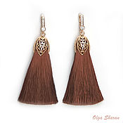 Украшения handmade. Livemaster - original item Very thick, bulky, earrings, brush chocolate color.. Handmade.