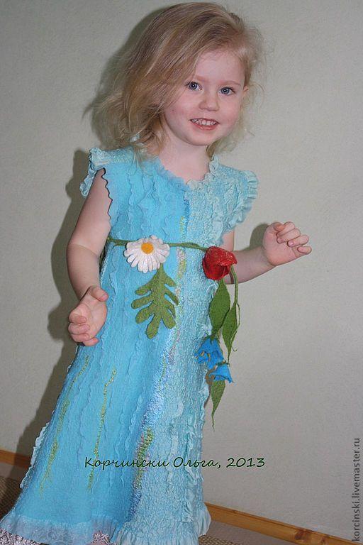 """Одежда для девочек, ручной работы. Ярмарка Мастеров - ручная работа. Купить Платье детское валяное """"Лесная нимфа"""". Handmade. Бирюзовый"""