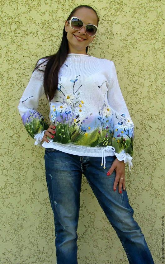Sweatshirts & Sweaters handmade. Livemaster - handmade. Buy ' daisies'.Blouse, embroidery ribbons