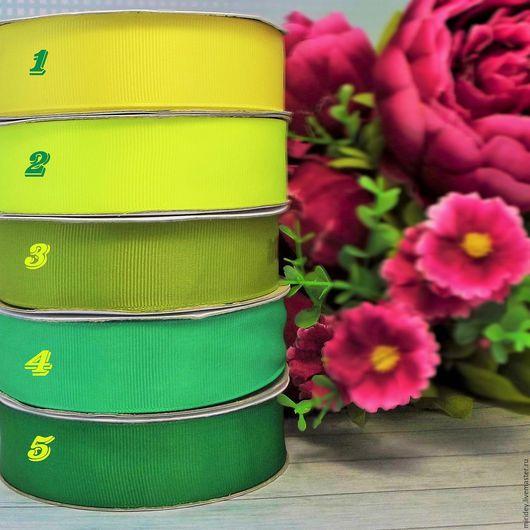 Аппликации, вставки, отделка ручной работы. Ярмарка Мастеров - ручная работа. Купить Лента репсовая 25 мм желто/зеленые тона. Handmade.