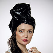 "Аксессуары handmade. Livemaster - original item Black silk shine ""vinyl"" turban hat hijab. Handmade."
