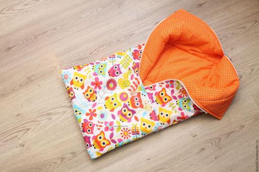 Для новорожденных, ручной работы. Ярмарка Мастеров - ручная работа. Купить конверт на выписку. Handmade. Оранжевый, конверт для прогулок