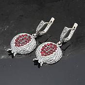 Украшения handmade. Livemaster - original item Classic Garnet earrings with zircons made of 925 GA0051 silver. Handmade.