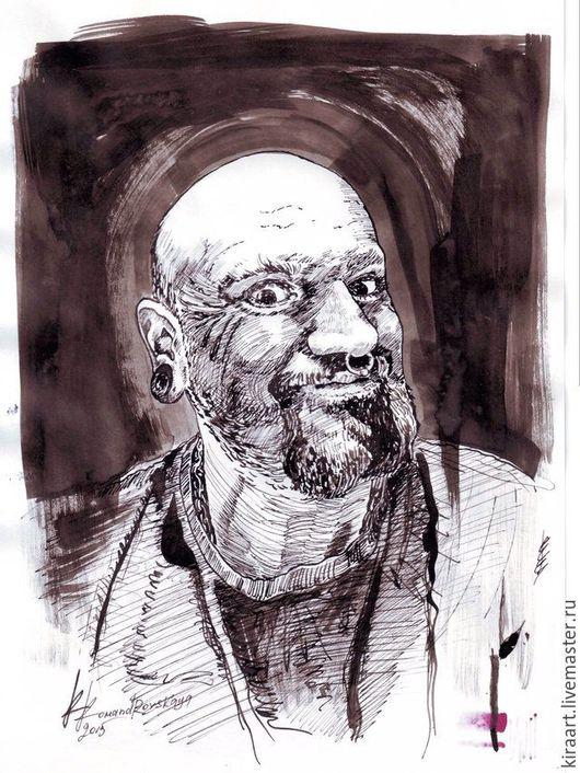 Люди, ручной работы. Ярмарка Мастеров - ручная работа. Купить Портрет тушью. Handmade. Тушь, портрет тушью, плотная бумага