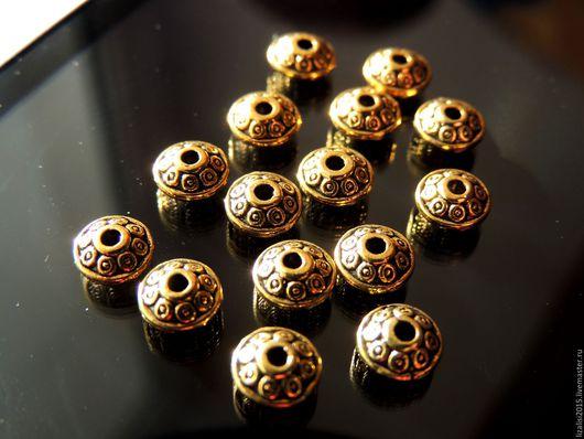 Для украшений ручной работы. Ярмарка Мастеров - ручная работа. Купить Бусина разделитель 6,5х3,5мм античное золото 10шт. Handmade.