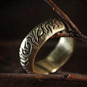 """Кольца ручной работы. Ярмарка Мастеров - ручная работа Широкое Золотистое """"Руническое Кольцо"""" (IV). Handmade."""