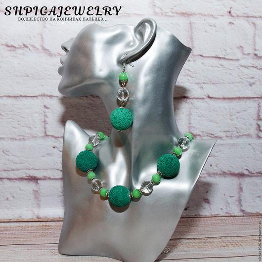 Комплект украшений из лавы, агата и горного хрусталя `Greenery`