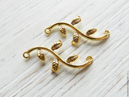 Коннектор Веточка, размер 30*14 мм цвет золото,  материал - латунь (арт. 2245)
