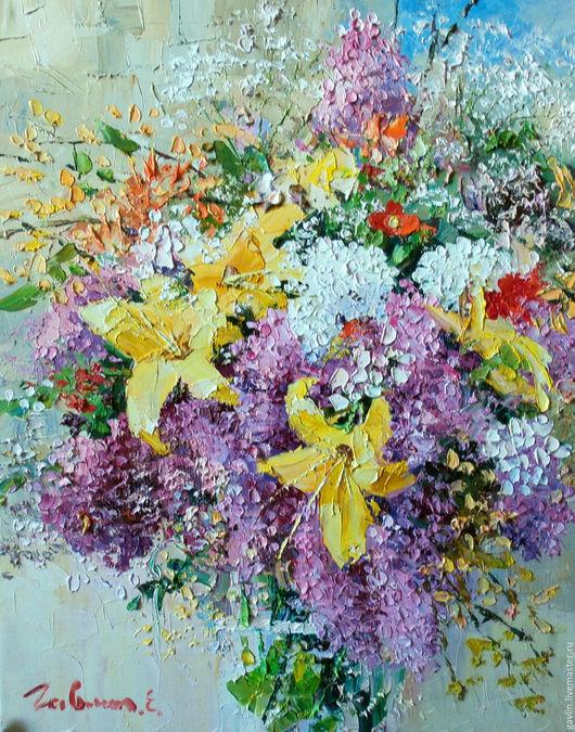 Картины цветов ручной работы. Ярмарка Мастеров - ручная работа. Купить Легкое дыхание букета. Handmade. Цветы, букет