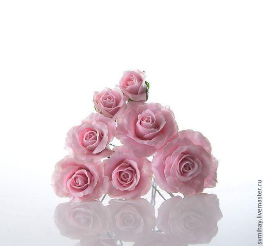 Свадебные украшения ручной работы. Ярмарка Мастеров - ручная работа. Купить Розочки в прическу. Handmade. Розовый, шпильки для невесты