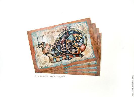 """Открытки на все случаи жизни ручной работы. Ярмарка Мастеров - ручная работа. Купить Комплект открыток """"Стимпанк-насекомые"""". Handmade. Бежевый"""