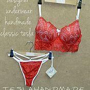 Одежда ручной работы. Ярмарка Мастеров - ручная работа Комплект нижнего белья ручной работы classic tesla/красный. Handmade.