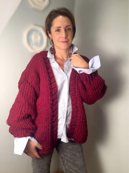Кофты и свитера ручной работы. Ярмарка Мастеров - ручная работа. Купить Вязаный Кардиган марсала крупной вязки. Handmade. Кардиган