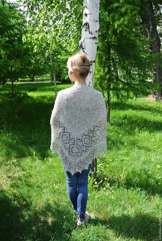 """Шали, палантины ручной работы. Ярмарка Мастеров - ручная работа. Купить Бохо-шаль """"Береста"""" летняя шаль из эко-пряжи льна с хлопком. Handmade."""