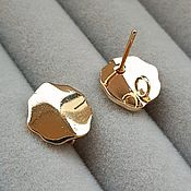 Материалы для творчества handmade. Livemaster - original item Earrings studs 11x11 mm gold plated (3612). Handmade.