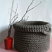 Basket handmade. Livemaster - original item The basket is crocheted of cord of gray. Handmade.