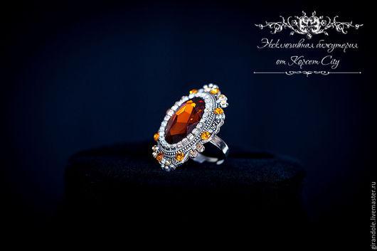 """Кольца ручной работы. Ярмарка Мастеров - ручная работа. Купить Кольцо с камнем """"Сон Семирамиды""""  коричневый-золотой барокко. Handmade."""