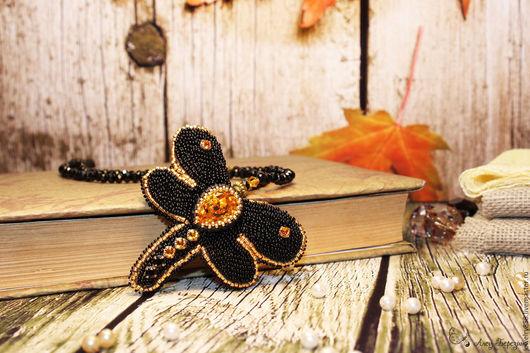 колье и брошь из бисера стрекоза, украшение трансформер, украшение на шею, украшение в подарок, авторское украшение, изделие из бисера купить, украшение ручной работы