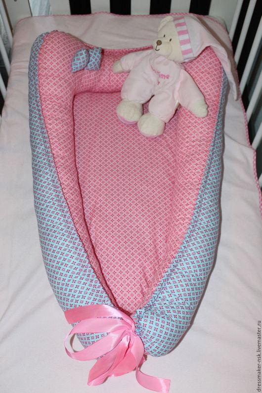 Для новорожденных, ручной работы. Ярмарка Мастеров - ручная работа. Купить Гнездышко для новороженной. Handmade. Розовый, в клеточку, бантик