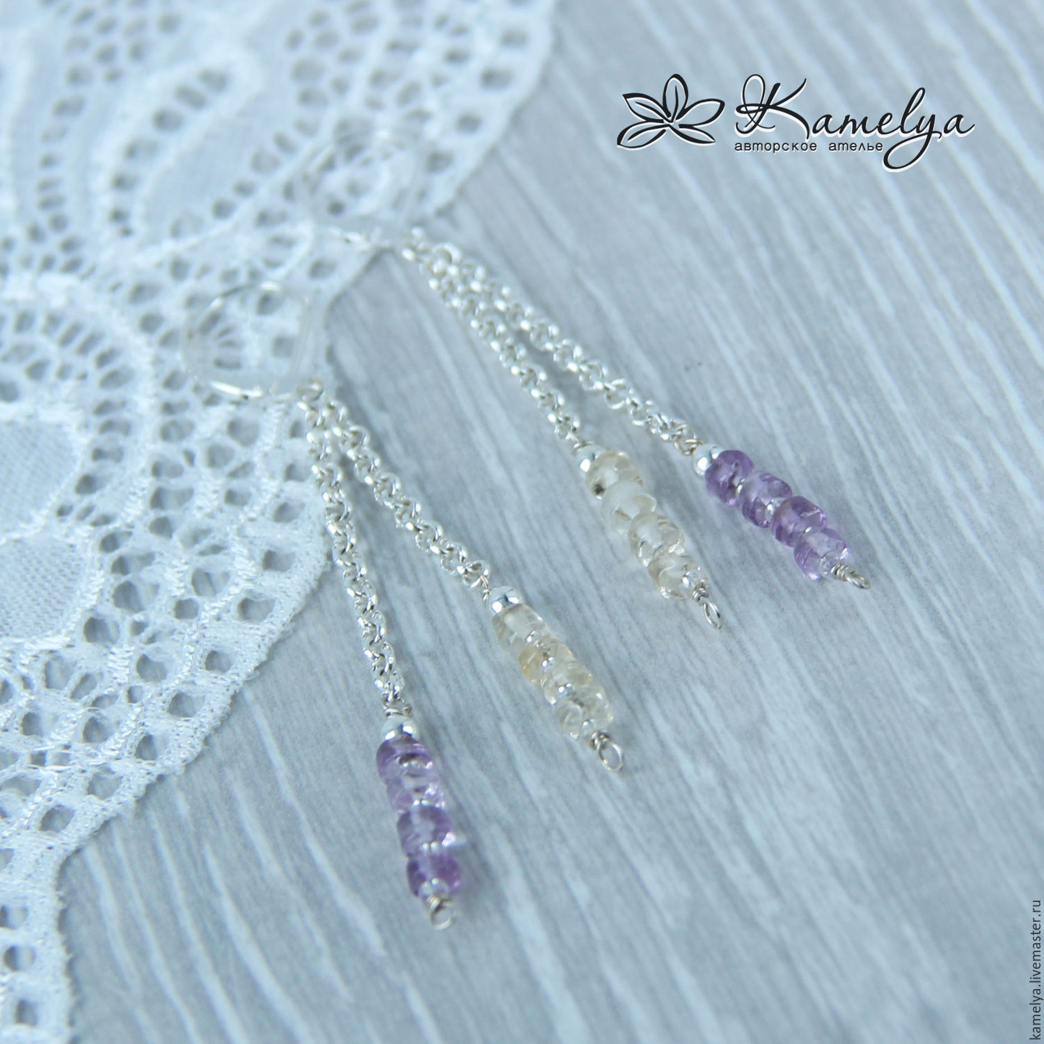 earrings with amethyst and citrine 'fabulous fairy', Earrings, Yaroslavl,  Фото №1