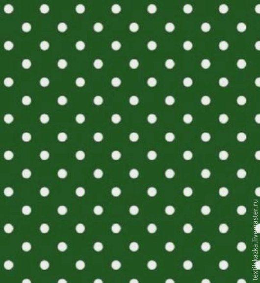 Шитье ручной работы. Ярмарка Мастеров - ручная работа. Купить Ткань хлопок горошек Россия БМ горох темно-зеленый. Handmade.