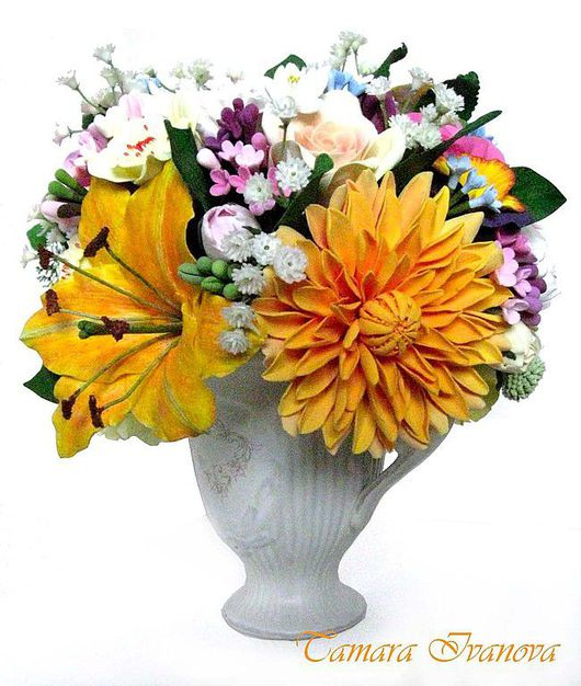 Цветы ручной работы. Ярмарка Мастеров - ручная работа. Купить Букет солнечный. Handmade. Оригинальный подарок, полимерная глина