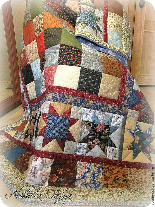 """Текстиль, ковры ручной работы. Ярмарка Мастеров - ручная работа. Купить Одеяло-покрывало лоскутное """"3везда"""".. Handmade. Плед"""