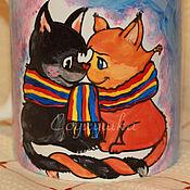 """Посуда ручной работы. Ярмарка Мастеров - ручная работа Кружка """"Влюбленные кошки"""". Handmade."""