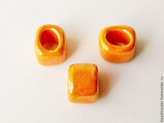 Для украшений ручной работы. Ярмарка Мастеров - ручная работа. Купить Бусина керамическая Регализ (БКР59). Handmade. Оранжевый, регализ
