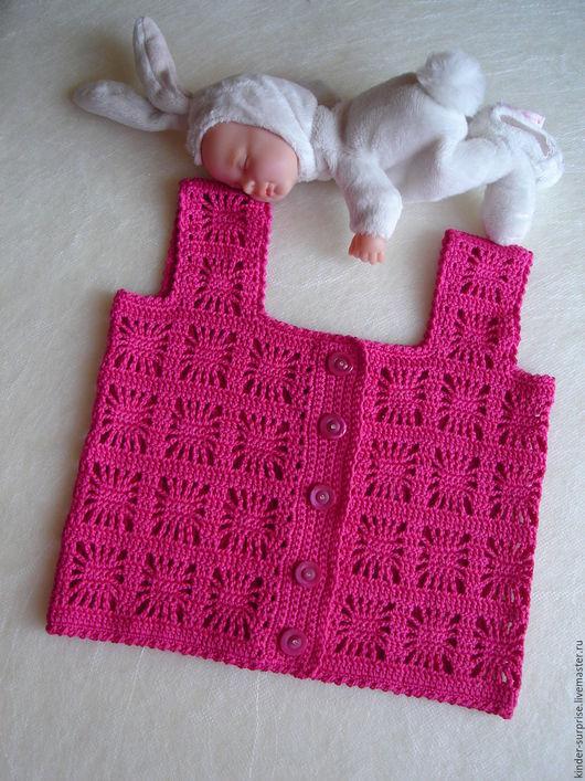 Одежда для девочек, ручной работы. Ярмарка Мастеров - ручная работа. Купить Комплект с вязаной майкой. Handmade. Фуксия, сарафан для девочки