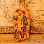 Посуда ручной работы. Ярмарка Мастеров - ручная работа Бутылка Африканские леди, декупаж. Handmade.
