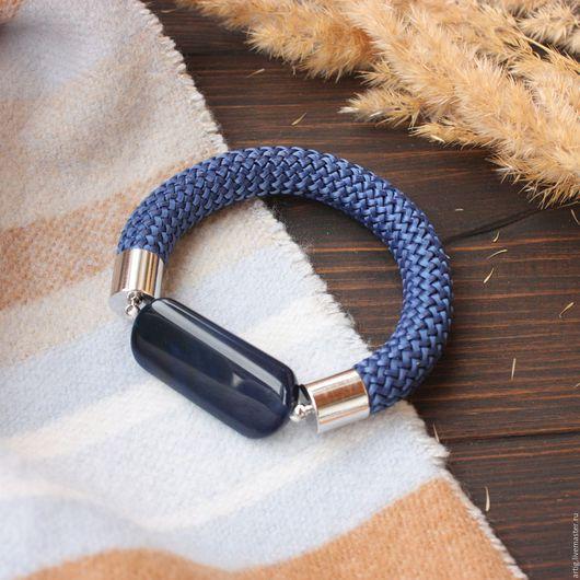 Браслеты ручной работы. Ярмарка Мастеров - ручная работа. Купить Браслет на шнуре с синим агатом. Handmade. Тёмно-синий, уют