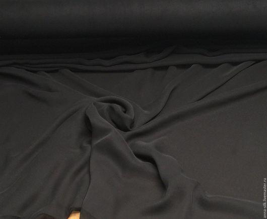 Ярмарка  Мастеров. Купить Шифон ЧЕРНЫЙ, 114 см, 8 мм, натуральный шелк 100%. Материалы для творчества, Купить Шифон черный, натуральный шелк 100%